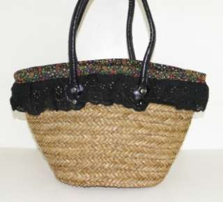CHARM CUTE TAN & FLORAL BLACK LACE STRAW MARKET LARGE TOTE BAG