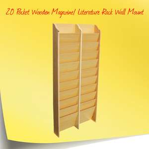 20 Pocket Wooden Magazine/ Literature Rack Wall Mount
