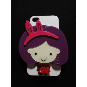 Cute Little Girl with Cosmetic Mirror Hard Case: Cell Phones