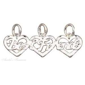 Sterling Silver BEST FRIENDS Three 3 Piece Charm Jewelry