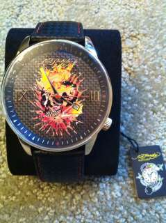 Ed Hardy Mens Watch NWTGold & Leather Skull