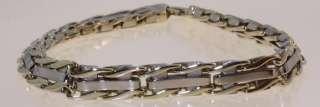14k yellow white gold 8mm mens link bracelet gents vintage estate 9 1