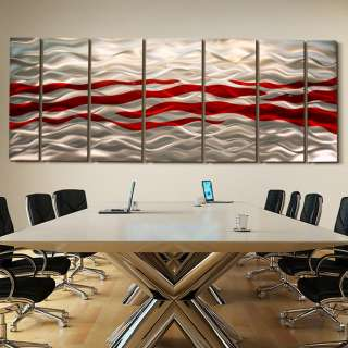 Statements2000 Abstract Corporate Metal Wall Art Decor Silver/Red