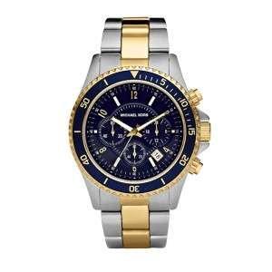 Michael Kors Mens Sport Dual Toned Navy Blue Dial Watch MK8175