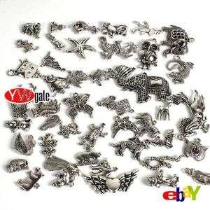 50Pcs Tibetan Silver Animal Zoo Charms Pendant Mixed Style To Pick