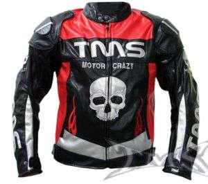 TMS RED/BLACK ARMOR SKULL MOTORCYCLE JACKET SPORTBIKE~XXXL/3XL