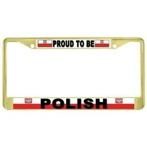 Be Polish Flag Gold Tone Metal License Plate Frame Holder Automotive