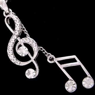 N102A Treble Clef Music Note Clear Crystal Necklace