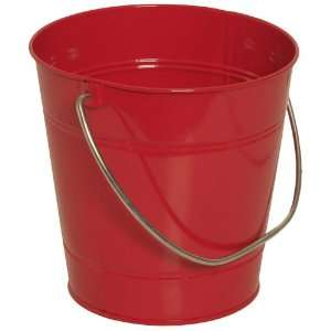 Solid Red Large Colorful Metal Pail Buckets   Sold