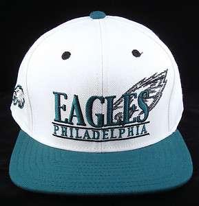 NFL Philadelphia EAGLES Snapback Cap Hat White w/Midnight Green Visor