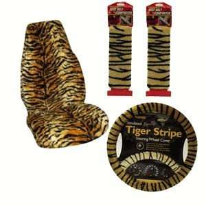 Tiger Print Plush Auto Accessory Package Accessories Seat