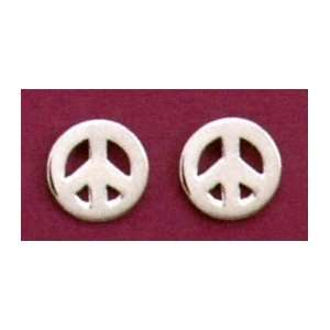 Sterling Silver Peace Sign/Symbol Post Earrings, 3/8 inch: Jewelry
