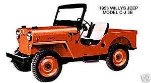 1953 WILLYS JEEP ~ MODEL C J 3B (ORANGE) ~ MAGNET