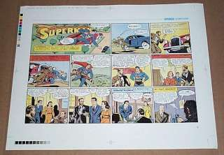 GOLDEN AGE SUPERMAN DC SUNDAY COMIC STRIP COLOR PROOF PRODUCTION ART 1