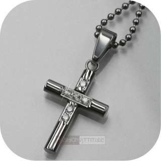 cross pendant men stainless steel chain necklace small