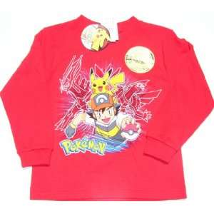 Pokemon Pikachu Ash Long Sleeve Red Glow in Dark T Shirt T Shirt Kids