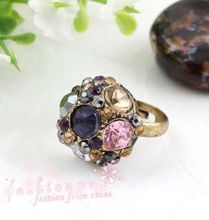 Stylish Premier Design Colors Rhinestone Hemishere Open Ring