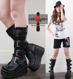 UNISEX Demonia Cyber Punk Straps Gothic Knee Rock Boots
