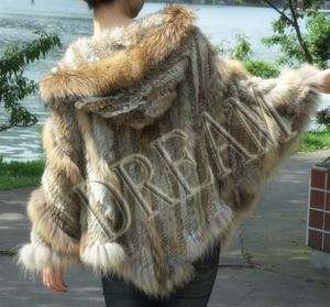Hooded Genuine Real Raccoon Rabbit fur cape scarf Poncho Black Brown