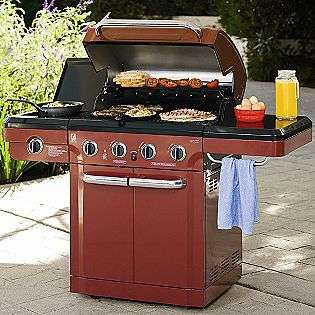 Burner Gas Grill with Side Burner   Red  Kenmore Outdoor Living Grills