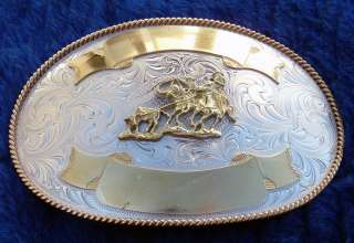 Cowboy Montana Silversmiths Award Style Team Roping Belt Buckle