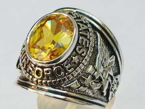 YELLOW NOVEMBER BIRTHSTONE RHODIUM US MILITARY AIR FORCE MENS RING