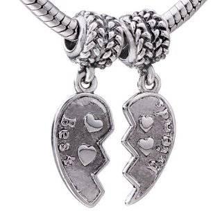 Best Friends European Bead Charms Fit 3mm Cable Bracelet Arts, Crafts