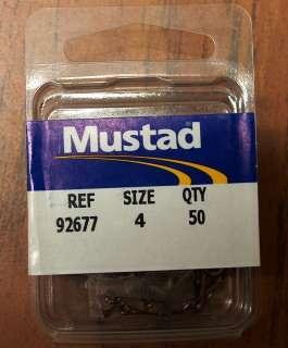 MUSTAD 92677 50pack BRONZE OFFSET LIVE BAIT HOOK SZ 4 NIP