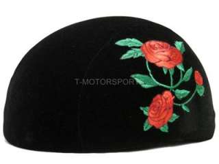 DOT Fabric Black Motorcycle HALF Helmet Rose Scooter ~L