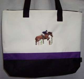 Hunter Jumper Horse Purple Tote Bag english lady NEW