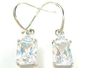 5CT EMERALD CUT DIAMONIQUE DANGLE STERLING EARRINGS
