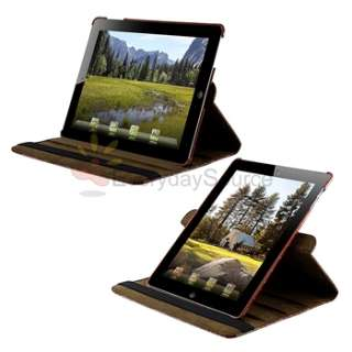 Rotating Stand Leather Case Cover For iPad 2 Brown Crocodile