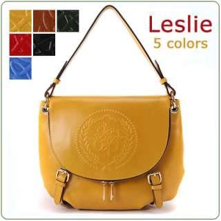 KOREA]NWT Genuine leather LESLIE handbag shoulder bag purse+long strap