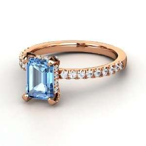Reese Ring, Emerald Cut Blue Topaz 14K Rose Gold Ring with