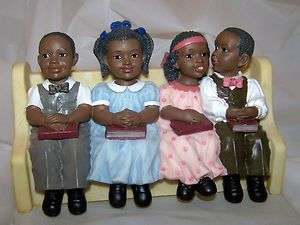 New African American Sunday School Church Pew Figurine