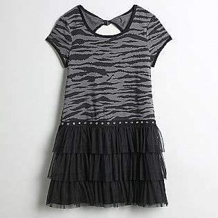 Plus Short Sleeve Animal Print Dress with Tulle Hem  Disorderly Kids