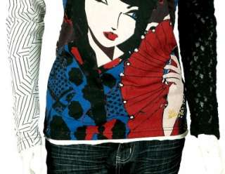 NEW $98 Desigual Printed Lace T shirt Long Sleeve Tunic Top Extra