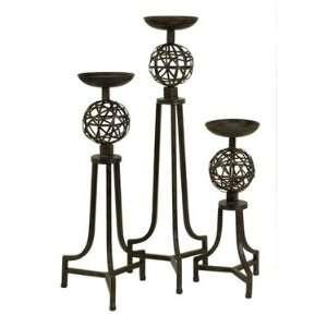 Mesh Metal Sphere Candlesticks   Set of 3 by IMAX Carolyn Kinder