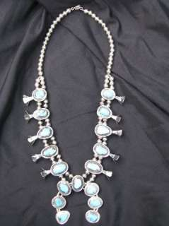 Indian Turquoise & Sterling Silver Squash Blossom Necklace