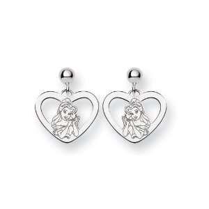 14k White Gold Disney Belle Heart Earrings Jewelry