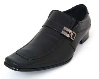 Mens Leather Dress Shoes Buckle Strap Loafers Slip On Shoe Horn Black
