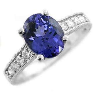 AAA 2.27ct VVS TANZANITE & DIAMOND 14k WHITE GOLD ENGAGEMENT RING
