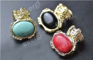 Fashion Jewelry New Europe Style Big Stone Gold tone Ring 3 Color