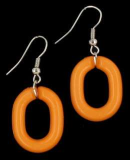 Chain Link Circle Pendant Necklace Earring SET Orange