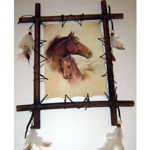 Framed Indian HORSES Picture #1 Native American 9 x 11