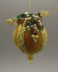 Towers &Turrets Handmade Beaded Velvet Christmas Ornament Ball Wine