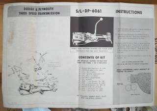 NOS Hurst 3 speed Floor shift Linkage install Kit 1960 1961 Dodge
