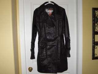 KHUJO Trendy Euro Wax Waxed Black Trench Coat L Large NWT