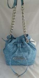 GUESS SUNDANCE BLUE/BLACK CROC DRAWSTRING CROSSBODY/SHOULDER BAG NWT $