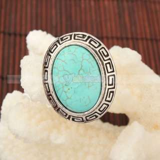 Elegant Charming Large Oval Turquoise Adjustable Rings